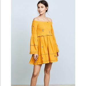 NWT free people yellow smocked mini dress